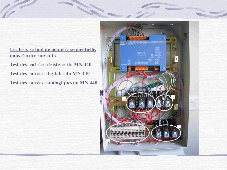 Photo 1 2 3 4 Les tests se font de manière séquentielle, dans lordre suivant : Test des entrées résistives du MN 440 Test des entrées digitales du MN