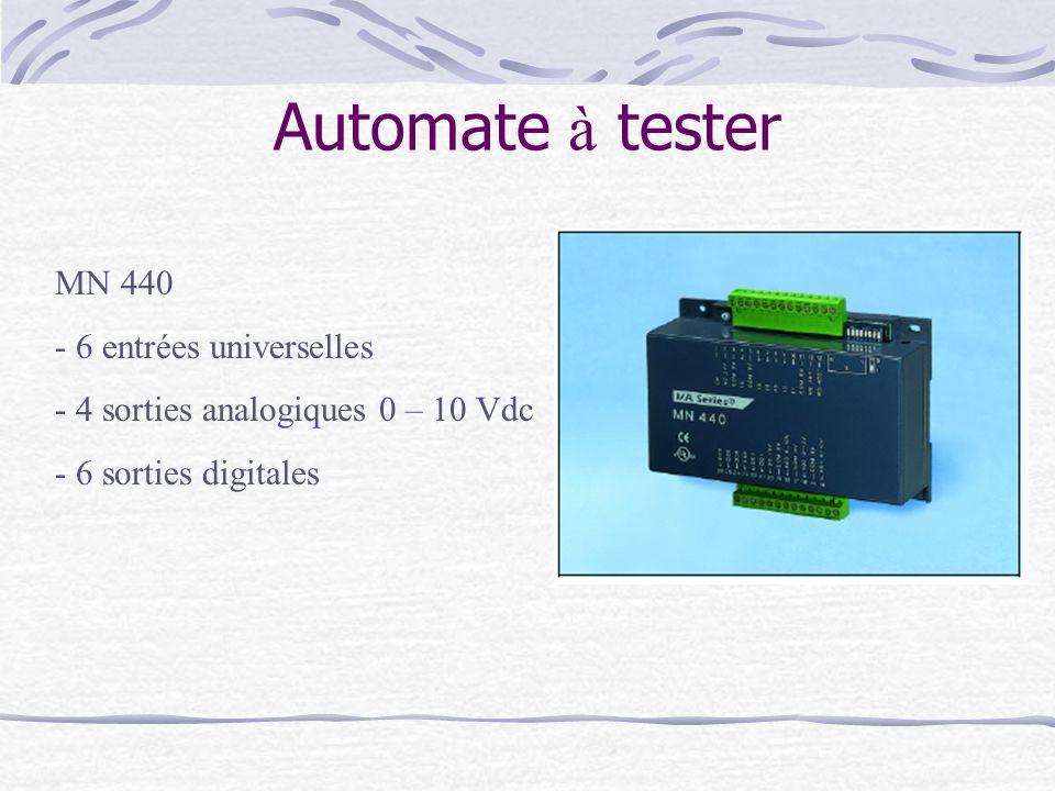 Automate à tester MN 440 - 6 entrées universelles - 4 sorties analogiques 0 – 10 Vdc - 6 sorties digitales