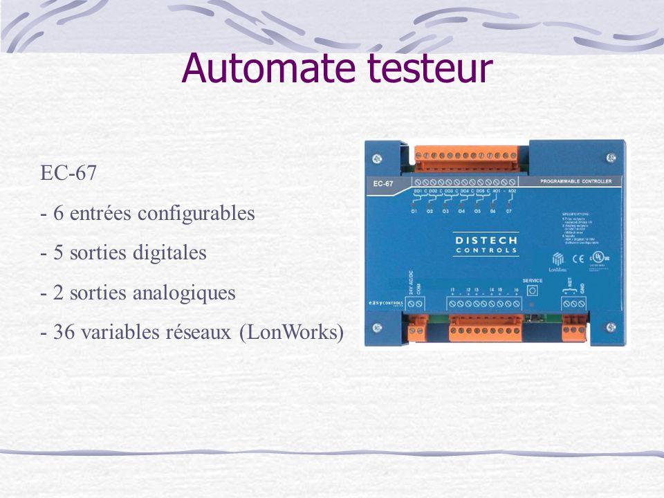 Automate testeur EC-67 - 6 entrées configurables - 5 sorties digitales - 2 sorties analogiques - 36 variables réseaux (LonWorks)