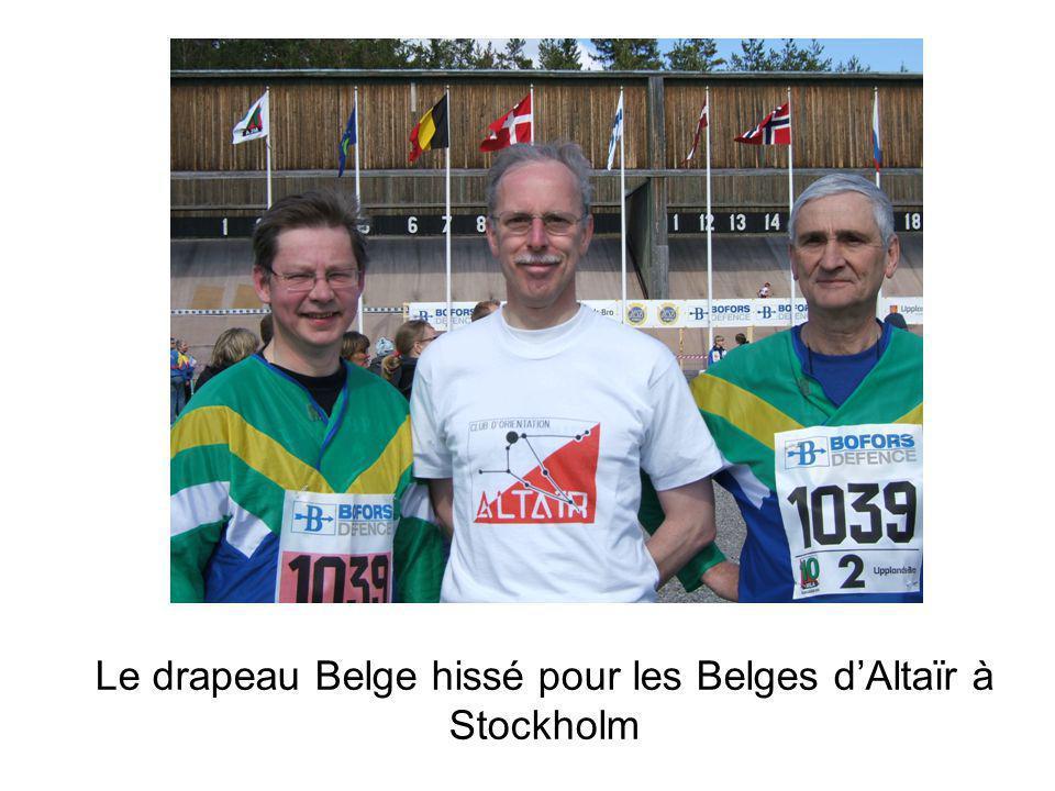 Le drapeau Belge hissé pour les Belges dAltaïr à Stockholm