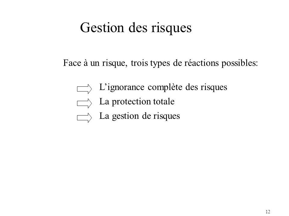12 Face à un risque, trois types de réactions possibles: Lignorance complète des risques La protection totale La gestion de risques Gestion des risques