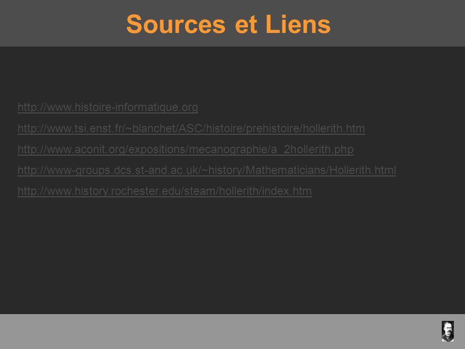 Sources et Liens http://www.histoire-informatique.org http://www.tsi.enst.fr/~blanchet/ASC/histoire/prehistoire/hollerith.htm http://www.aconit.org/ex