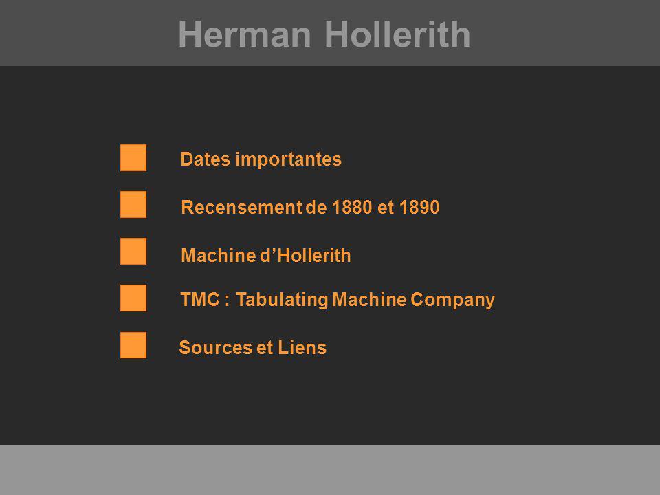 Herman Hollerith Dates importantes Recensement de 1880 et 1890 Machine dHollerith TMC : Tabulating Machine Company Sources et Liens