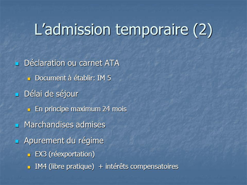Ladmission temporaire (2) Déclaration ou carnet ATA Déclaration ou carnet ATA Document à établir: IM 5 Document à établir: IM 5 Délai de séjour Délai