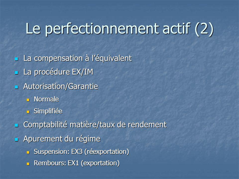 Le perfectionnement actif (2) La compensation à léquivalent La compensation à léquivalent La procédure EX/IM La procédure EX/IM Autorisation/Garantie