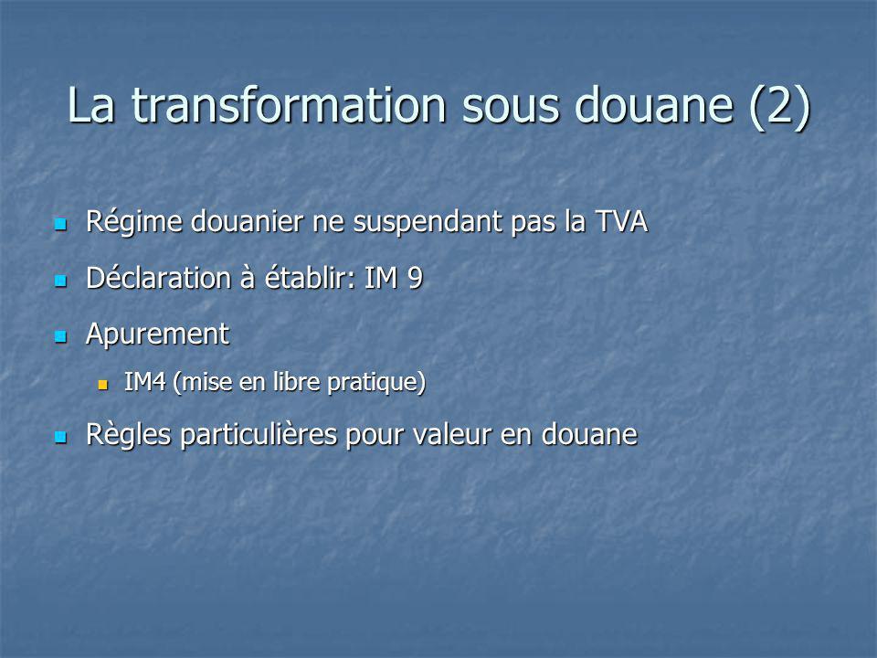 La transformation sous douane (2) Régime douanier ne suspendant pas la TVA Régime douanier ne suspendant pas la TVA Déclaration à établir: IM 9 Déclar