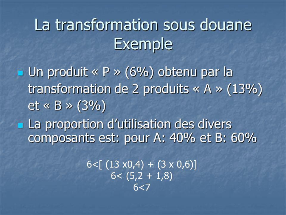 La transformation sous douane Exemple Un produit « P » (6%) obtenu par la transformation de 2 produits « A » (13%) et « B » (3%) Un produit « P » (6%)