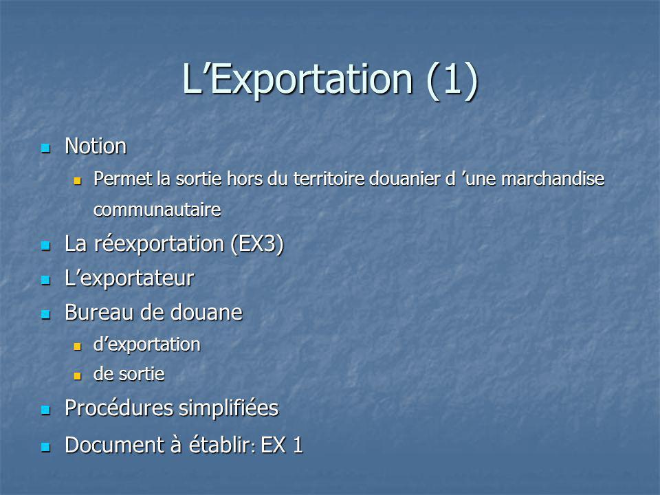 LExportation (1) Notion Notion Permet la sortie hors du territoire douanier d une marchandise communautaire Permet la sortie hors du territoire douani