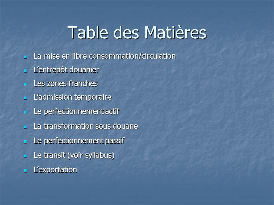 Table des Matières La mise en libre consommation/circulation La mise en libre consommation/circulation Lentrepôt douanier Lentrepôt douanier Les zones
