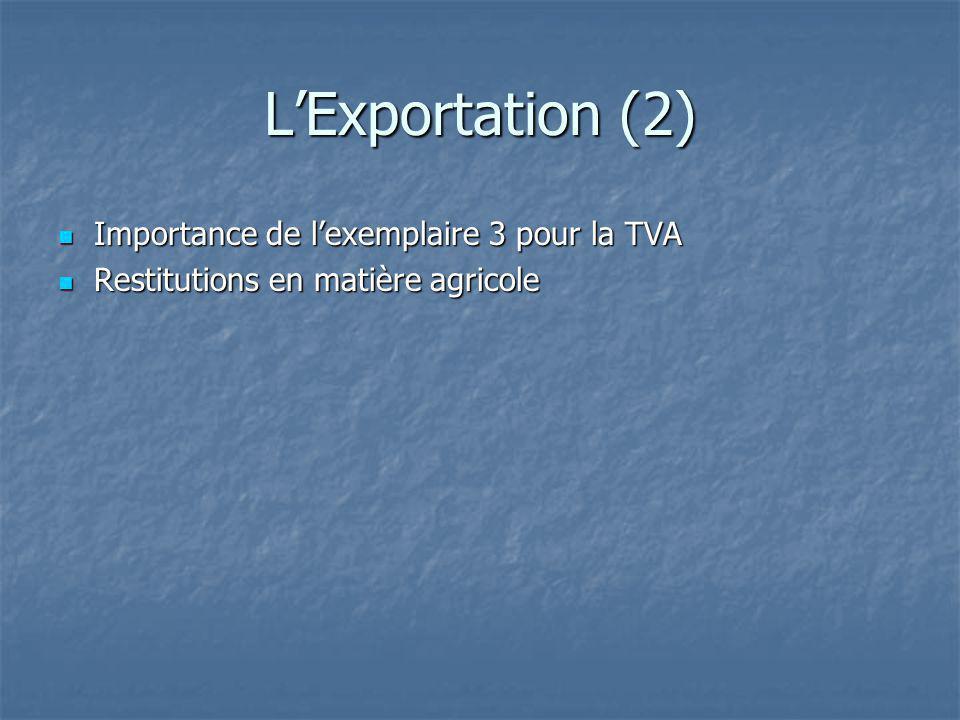 LExportation (2) Importance de lexemplaire 3 pour la TVA Importance de lexemplaire 3 pour la TVA Restitutions en matière agricole Restitutions en mati