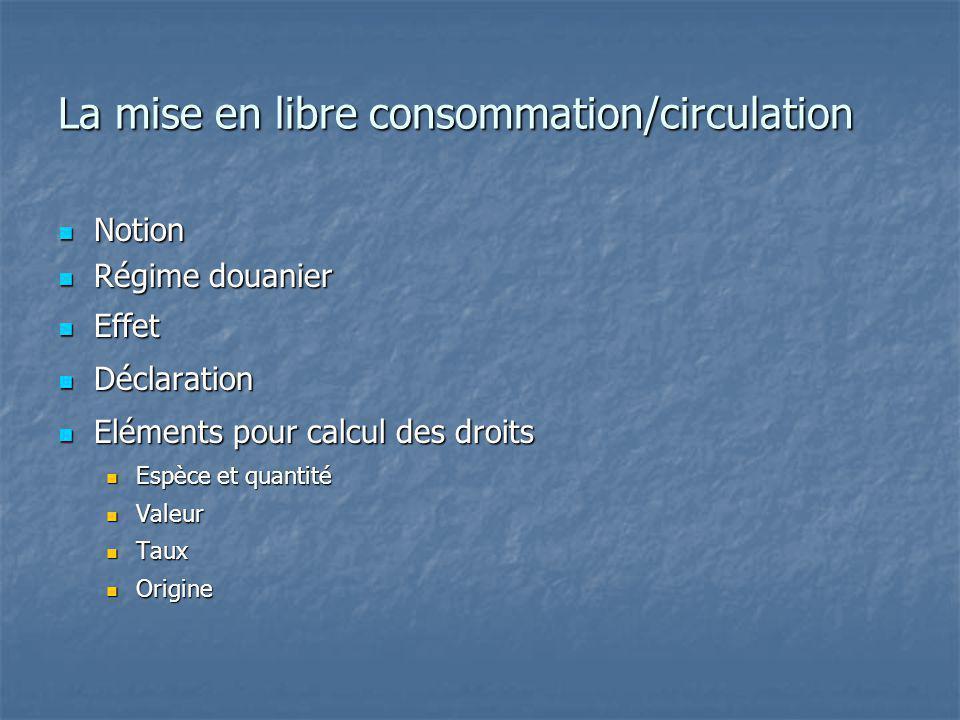 La mise en libre consommation/circulation Notion Notion Régime douanier Régime douanier Effet Effet Déclaration Déclaration Eléments pour calcul des d