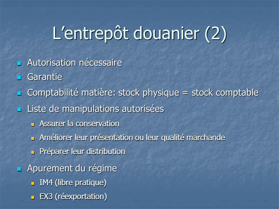 Lentrepôt douanier (2) Autorisation nécessaire Autorisation nécessaire Garantie Garantie Comptabilité matière: stock physique = stock comptable Compta