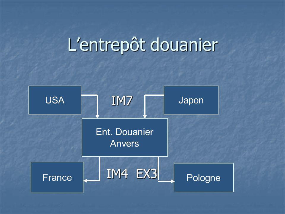 Lentrepôt douanier IM7 IM7 IM4 EX3 IM4 EX3 USAJapon Ent. Douanier Anvers France Pologne