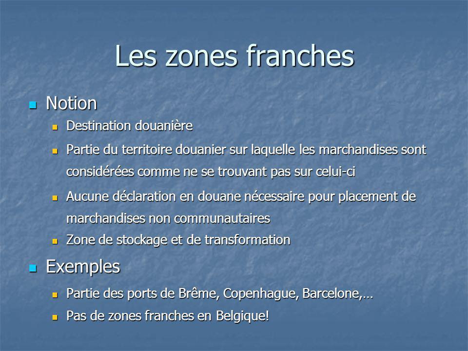 Les zones franches Notion Notion Destination douanière Destination douanière Partie du territoire douanier sur laquelle les marchandises sont considér
