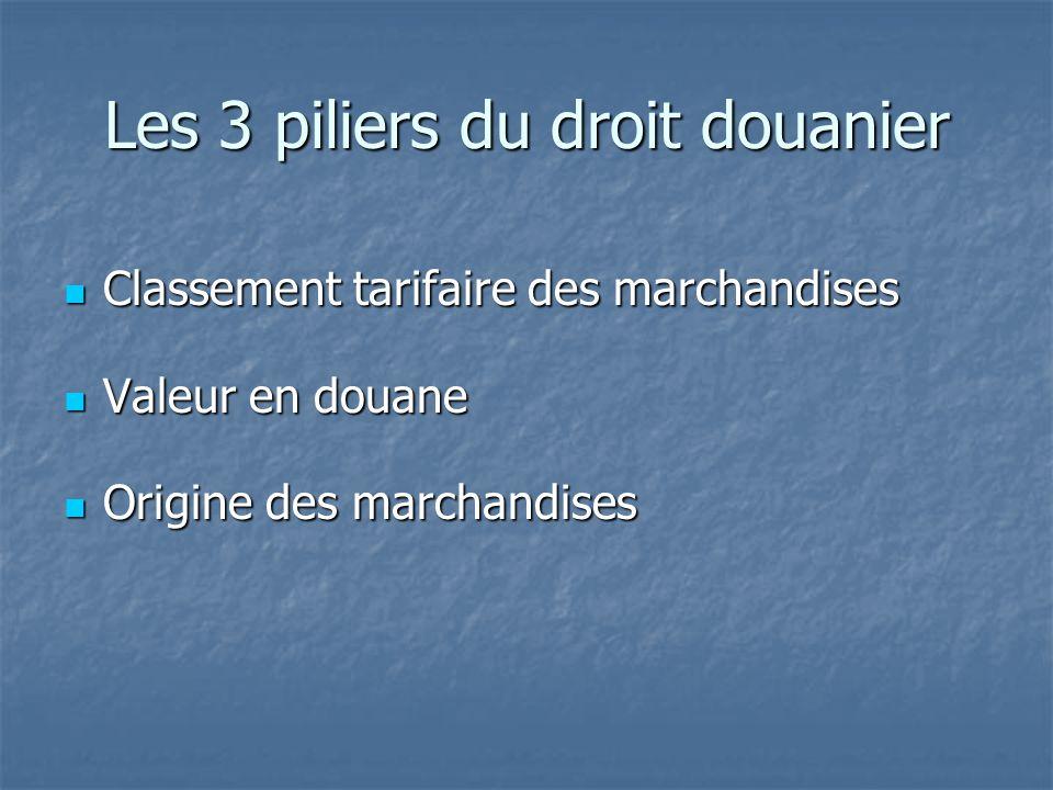 Les 3 piliers du droit douanier Classement tarifaire des marchandises Classement tarifaire des marchandises Valeur en douane Valeur en douane Origine