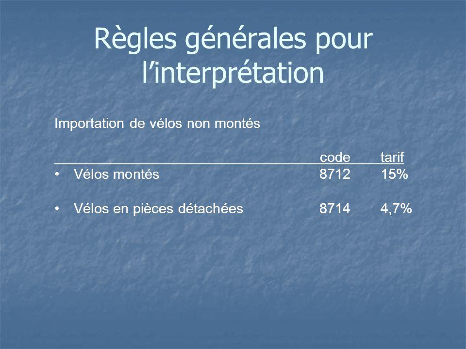 Importation de vélos non montés codetarif Vélos montés 871215% Vélos en pièces détachées 87144,7% Règles générales pour linterprétation