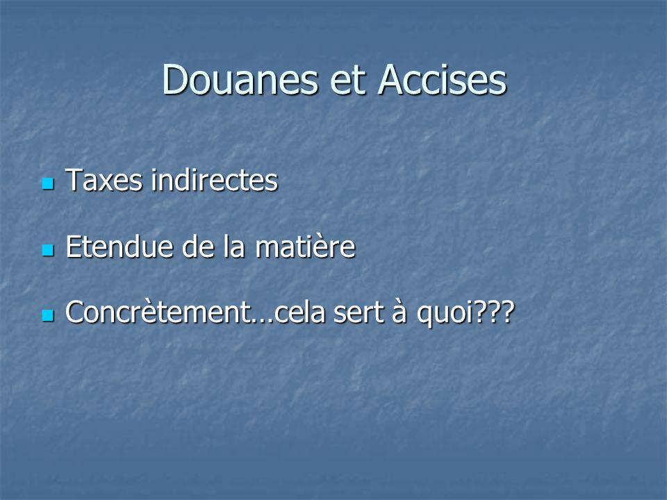 Douanes et Accises Taxes indirectes Taxes indirectes Etendue de la matière Etendue de la matière Concrètement…cela sert à quoi??? Concrètement…cela se