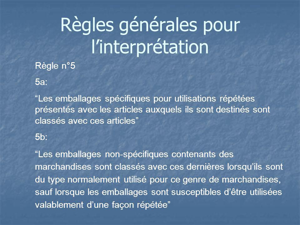 Règle n°5 5a: Les emballages spécifiques pour utilisations répétées présentés avec les articles auxquels ils sont destinés sont classés avec ces artic