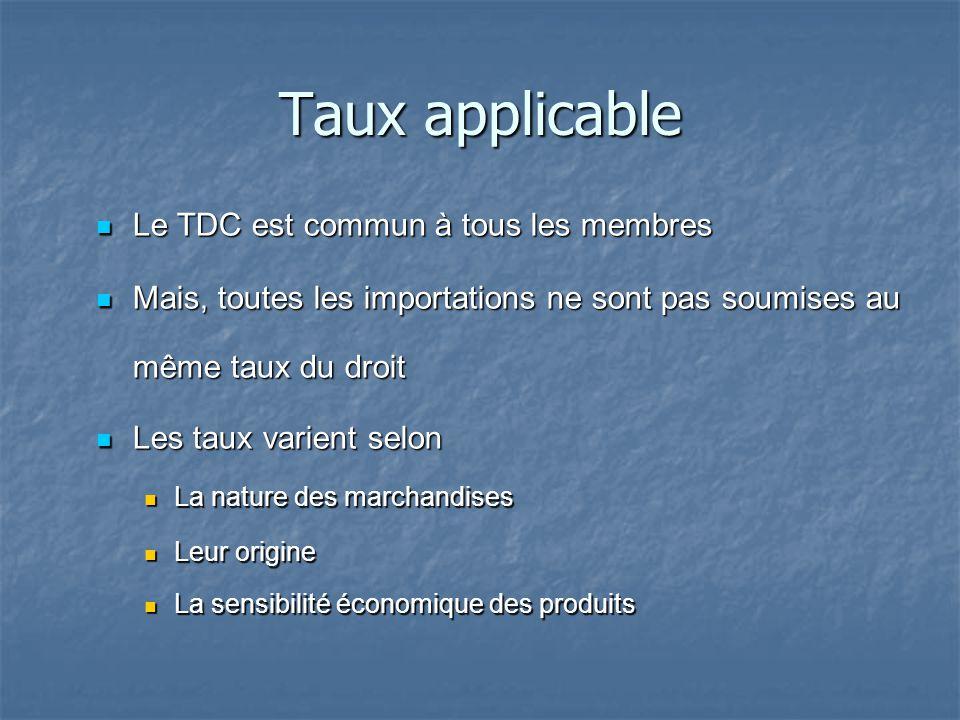 Taux applicable Le TDC est commun à tous les membres Le TDC est commun à tous les membres Mais, toutes les importations ne sont pas soumises au même t