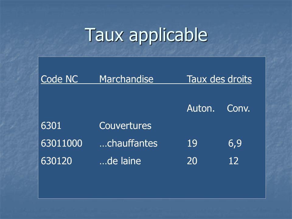 Taux applicable Code NCMarchandiseTaux des droits Auton. Conv. 6301Couvertures 63011000…chauffantes19 6,9 630120…de laine20 12