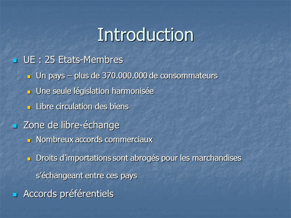 Introduction UE : 25 Etats-Membres UE : 25 Etats-Membres Un pays – plus de 370.000.000 de consommateurs Un pays – plus de 370.000.000 de consommateurs