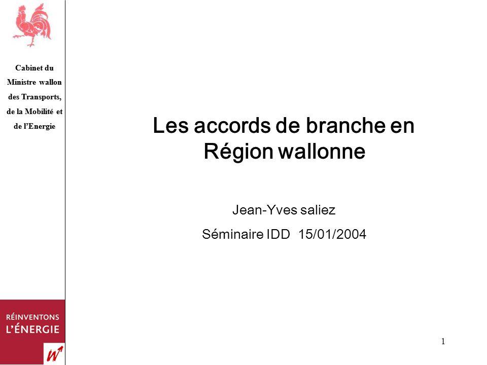 Cabinet du Ministre wallon des Transports, de la Mobilité et de lEnergie 1 Les accords de branche en Région wallonne Jean-Yves saliez Séminaire IDD 15