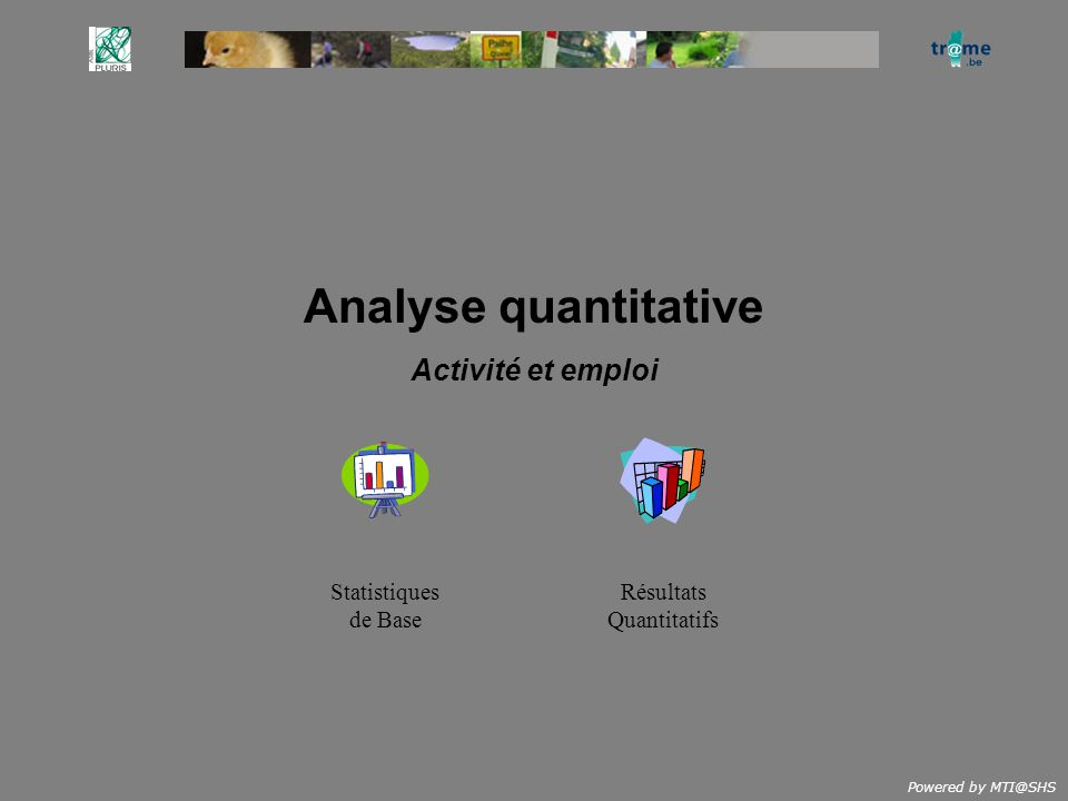 Powered by MTI@SHS Analyse quantitative Activité et emploi Résultats Quantitatifs Statistiques de Base