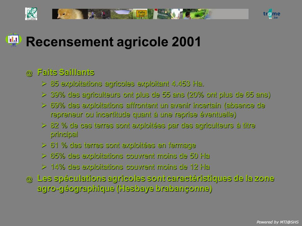 Powered by MTI@SHS Recensement agricole 2001 @ Faits Saillants 85 exploitations agricoles exploitant 4.453 Ha. 85 exploitations agricoles exploitant 4