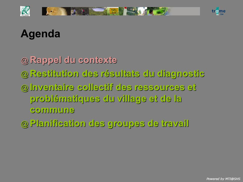 Powered by MTI@SHS Agenda @ Rappel du contexte @ Restitution des résultats du diagnostic @ Inventaire collectif des ressources et problématiques du vi