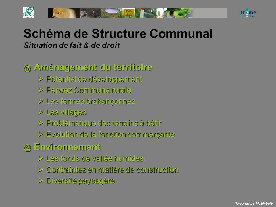 Powered by MTI@SHS Schéma de Structure Communal Situation de fait & de droit @ Aménagement du territoire Potentiel de développement Potentiel de dével