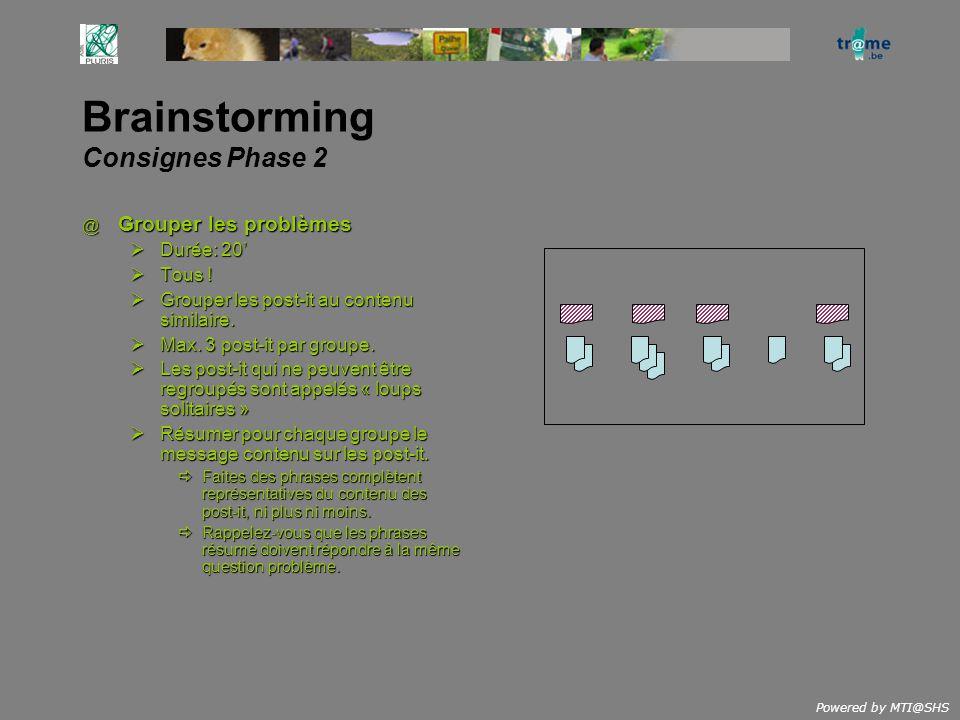 Powered by MTI@SHS Brainstorming Consignes Phase 2 @ Grouper les problèmes Durée: 20 Durée: 20 Tous .