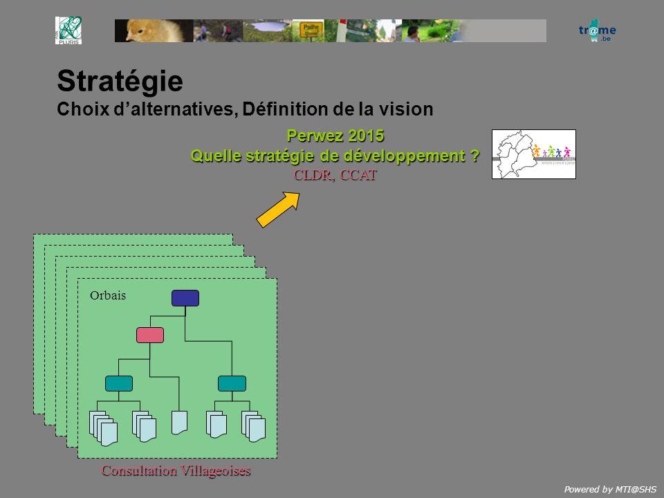 Powered by MTI@SHS Stratégie Choix dalternatives, Définition de la vision Perwez 2015 Quelle stratégie de développement ? CLDR, CCAT Orbais Consultati