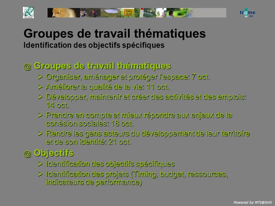 Powered by MTI@SHS Groupes de travail thématiques Identification des objectifs spécifiques @ Groupes de travail thématiques Organiser, aménager et pro