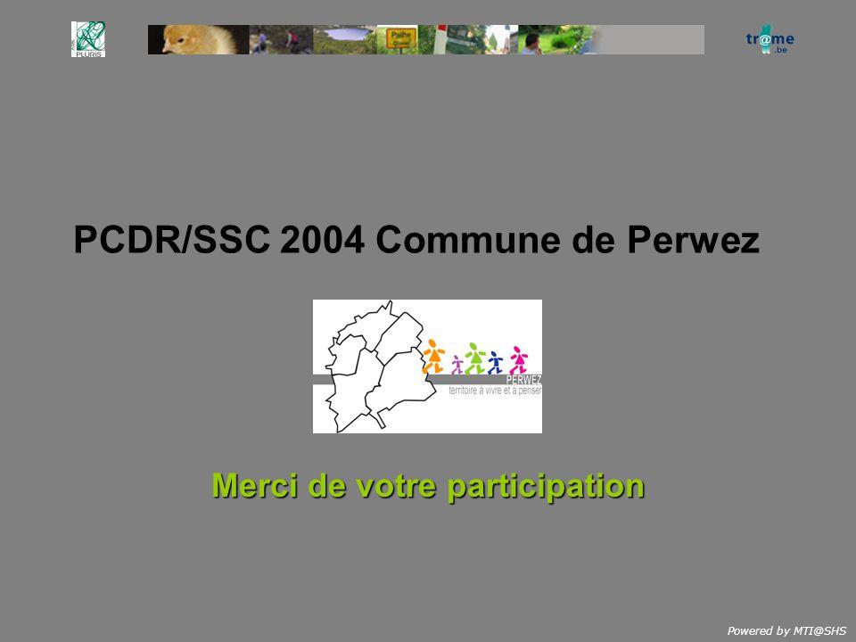 Powered by MTI@SHS PCDR/SSC 2004 Commune de Perwez Merci de votre participation