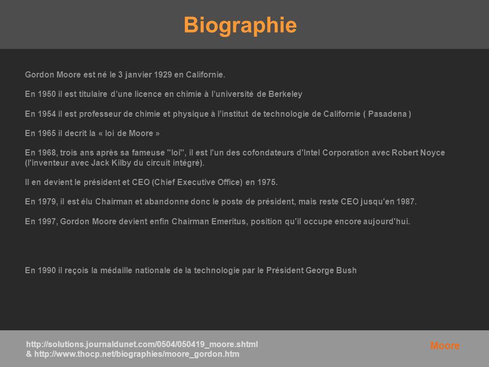 Biographie Gordon Moore est né le 3 janvier 1929 en Californie. En 1950 il est titulaire dune licence en chimie à luniversité de Berkeley En 1954 il e