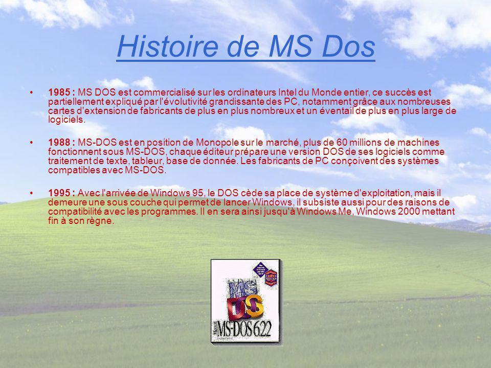 Histoire de MS Dos 1985 : MS DOS est commercialisé sur les ordinateurs Intel du Monde entier, ce succès est partiellement expliqué par l'évolutivité g