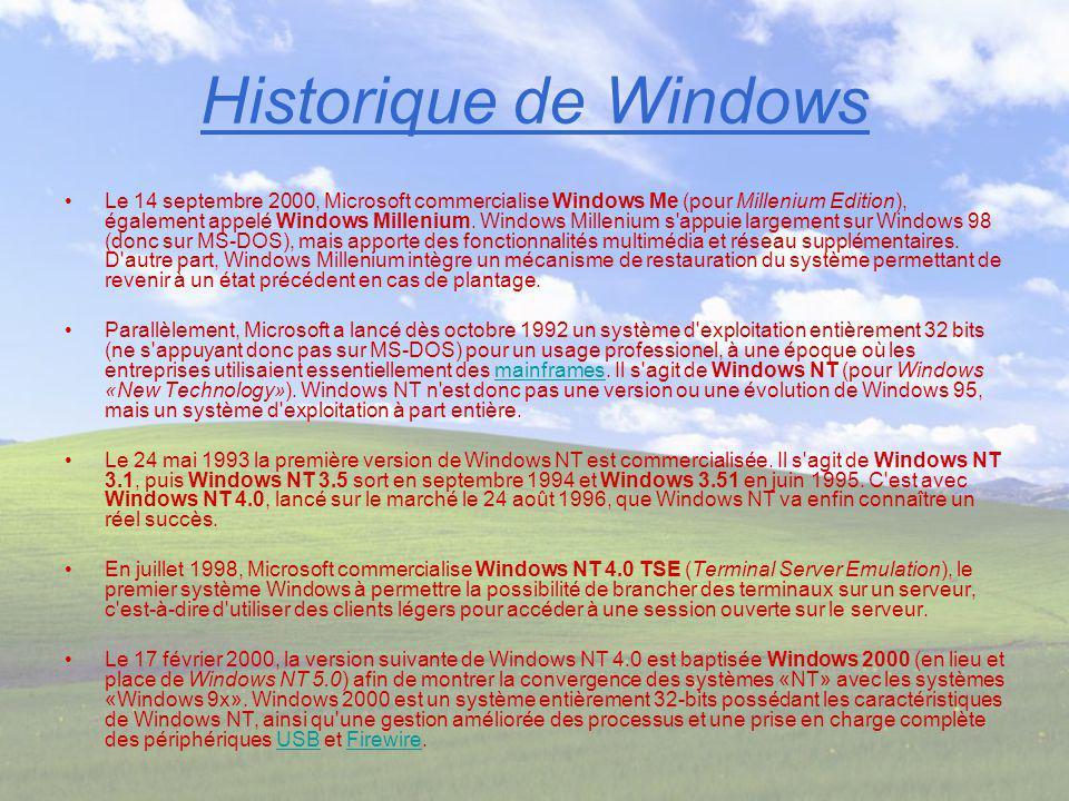 Historique de Windows Le 14 septembre 2000, Microsoft commercialise Windows Me (pour Millenium Edition), également appelé Windows Millenium. Windows M