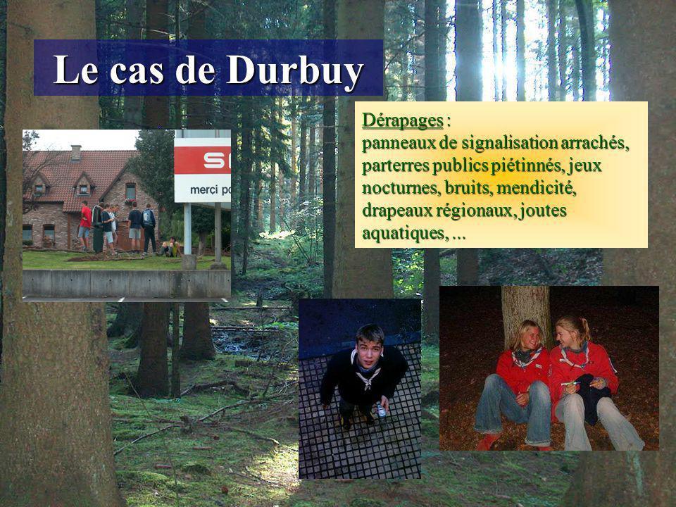 Le cas de Durbuy Dérapages : panneaux de signalisation arrachés, parterres publics piétinnés, jeux nocturnes, bruits, mendicité, drapeaux régionaux, joutes aquatiques,...
