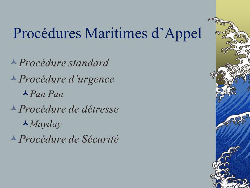 Procédures Maritimes dAppel Procédure standard Procédure durgence Pan Pan Procédure de détresse Mayday Procédure de Sécurité