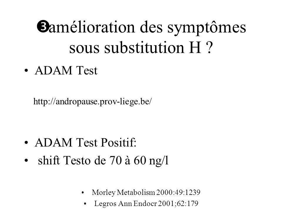 amélioration des symptômes sous substitution H ? ADAM Test ADAM Test Positif: shift Testo de 70 à 60 ng/l Morley Metabolism 2000:49:1239 Legros Ann En