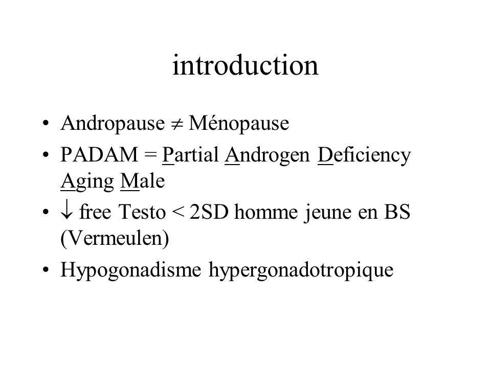 introduction Andropause Ménopause PADAM = Partial Androgen Deficiency Aging Male free Testo < 2SD homme jeune en BS (Vermeulen) Hypogonadisme hypergon