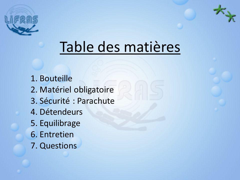 Table des matières 1.Bouteille 2.Matériel obligatoire 3.Sécurité : Parachute 4.Détendeurs 5.Equilibrage 6.Entretien 7.Questions