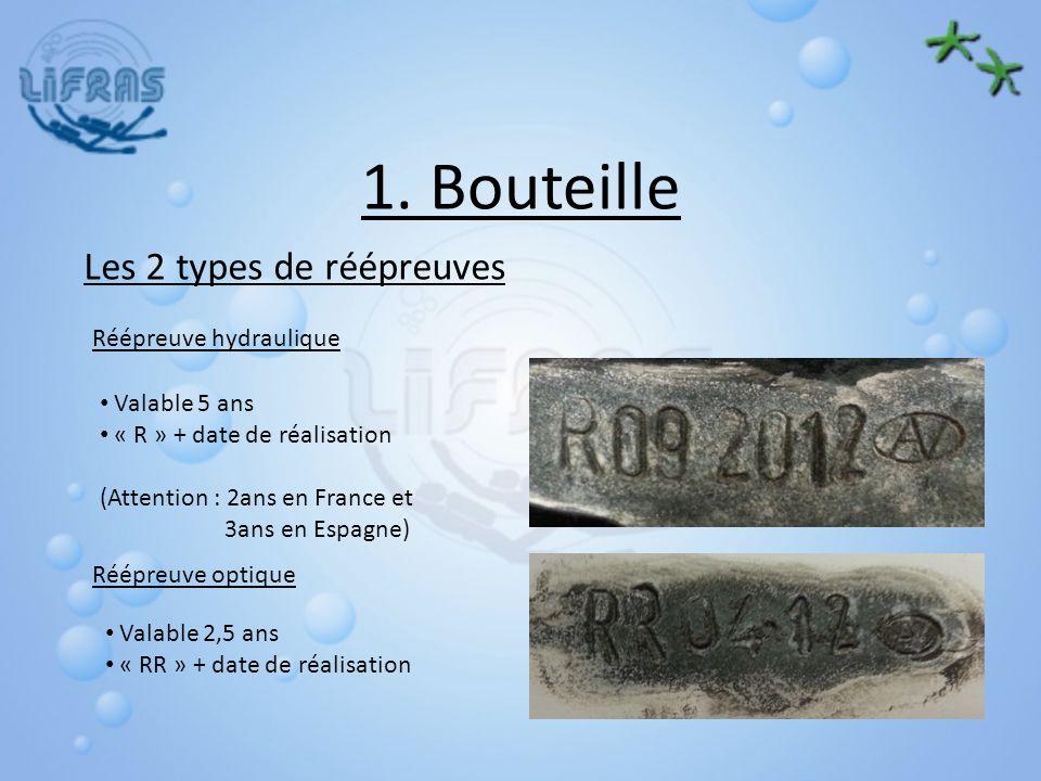 1. Bouteille Les 2 types de réépreuves Réépreuve hydraulique Réépreuve optique Valable 5 ans « R » + date de réalisation (Attention : 2ans en France e