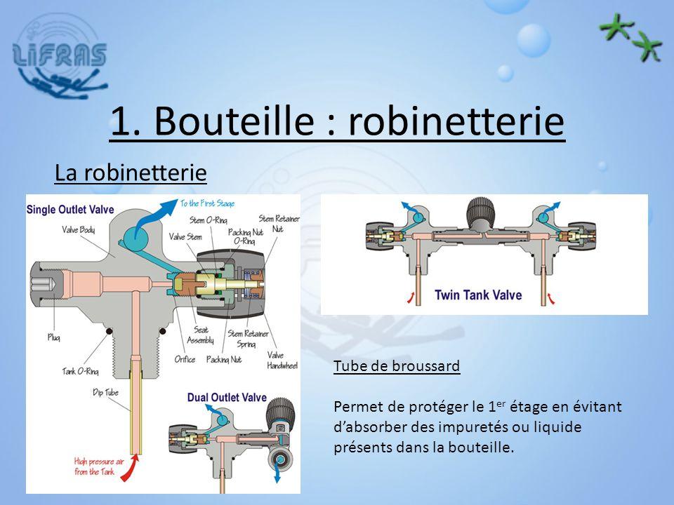 1. Bouteille : robinetterie La robinetterie Tube de broussard Permet de protéger le 1 er étage en évitant dabsorber des impuretés ou liquide présents
