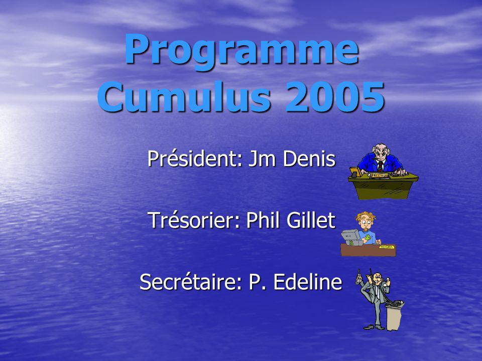 Programme Cumulus 2005 Président: Jm Denis Trésorier: Phil Gillet Secrétaire: P. Edeline