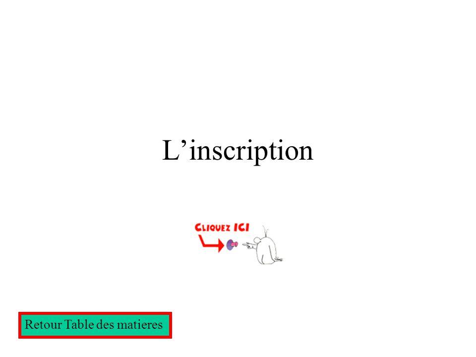 Cliquez la phrase du dessus Retour Table des matieres