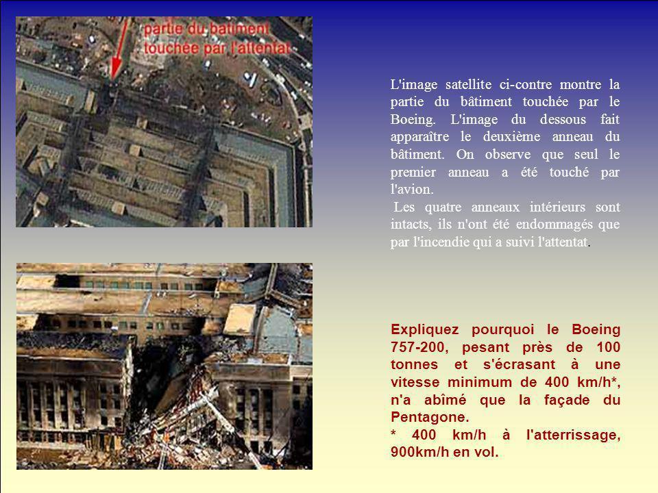 L'image satellite ci-contre montre la partie du bâtiment touchée par le Boeing. L'image du dessous fait apparaître le deuxième anneau du bâtiment. On