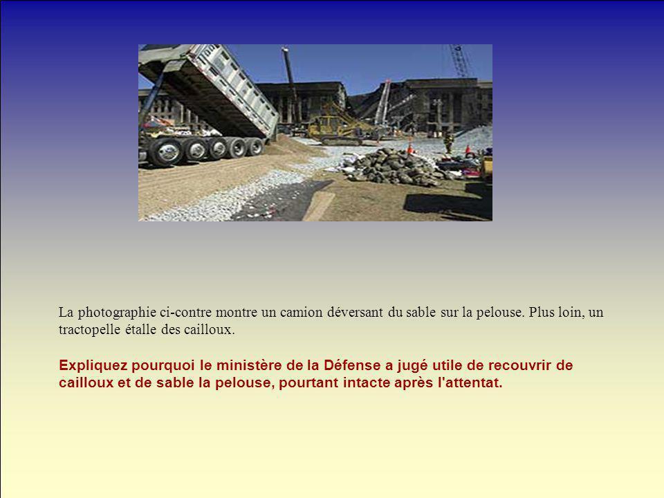 La photographie ci-contre montre un camion déversant du sable sur la pelouse. Plus loin, un tractopelle étalle des cailloux. Expliquez pourquoi le min