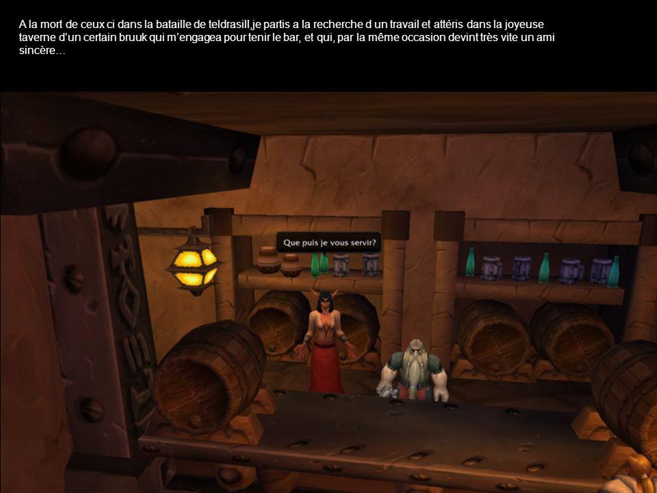 A la mort de ceux ci dans la bataille de teldrasill,je partis a la recherche d un travail et attéris dans la joyeuse taverne dun certain bruuk qui mengagea pour tenir le bar, et qui, par la même occasion devint très vite un ami sincère…