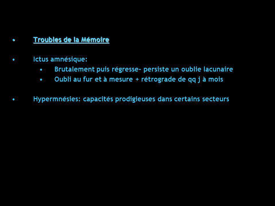Troubles de la MémoireTroubles de la Mémoire Ictus amnésique: Brutalement puis régresse- persiste un oublie lacunaire Oubli au fur et à mesure + rétro